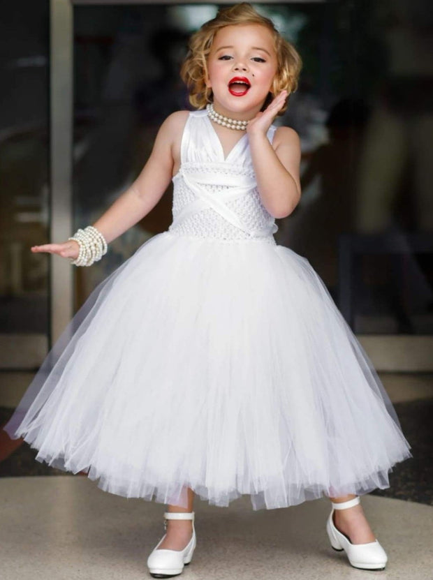 Girls White Tulle Marilyn Monroe Inspired Halloween Tutu Dress - Girls Halloween Costume