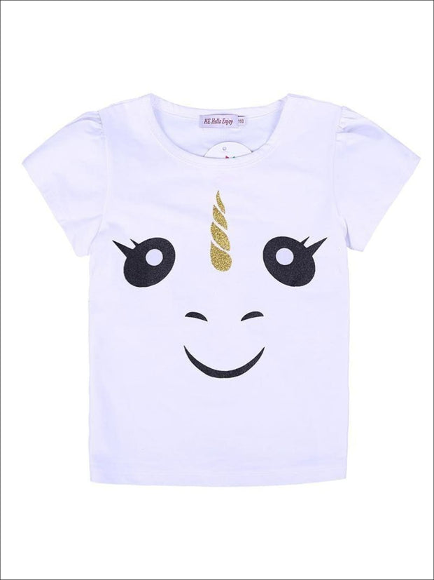 Girls White Unicorn T-Shirt & Tutu Skirt - Girls Spring Casual Set