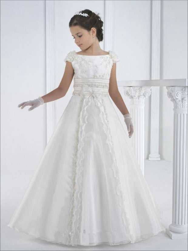 Girls White Vintage Rhinestone Embellished Communion Gown - White / 2T - Girls Gowns