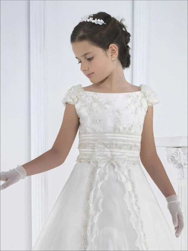 Girls White Vintage Rhinestone Embellished Communion Gown - Girls Gowns