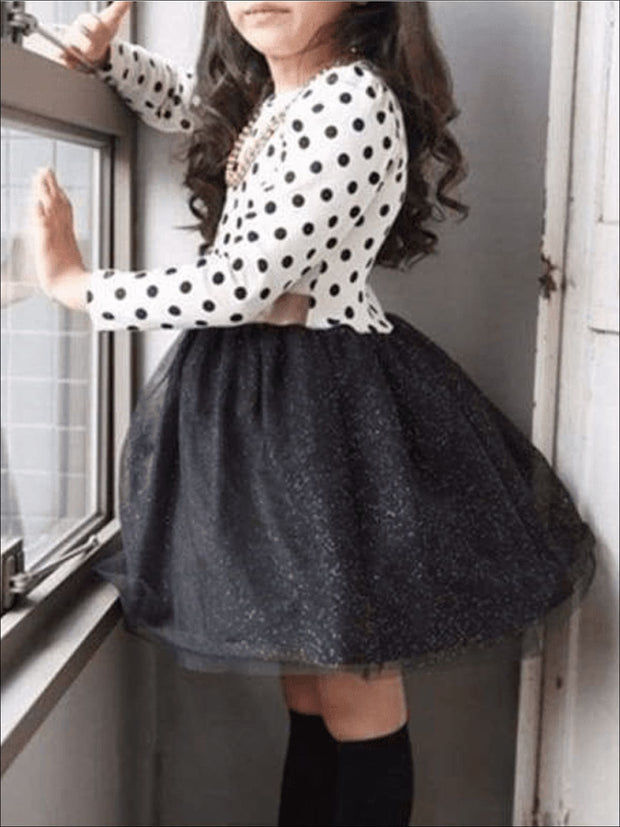 Girls White/Black Polka Dot Tutu Dress - Girls Fall Dress