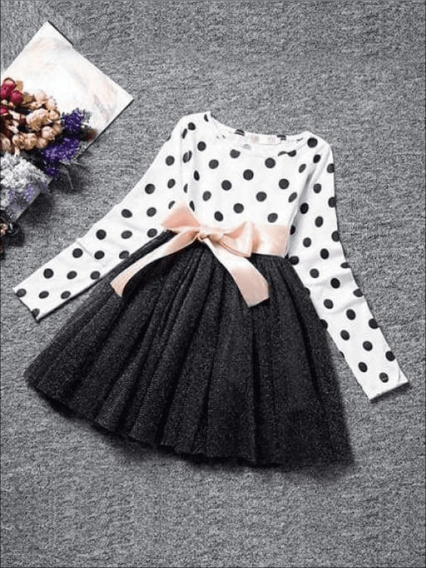 Girls White/Black Polka Dot Tutu Dress - White/ Black / 3T - Girls Fall Dress