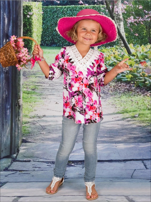 Girls White/Magenta Painterly Floral 3/4 Sleeve Shirttail Hem Tunic w Crochet Collar - Girls Spring Top