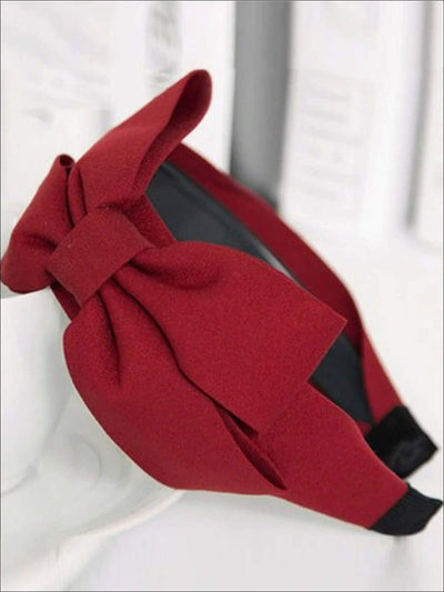 Girls Wide Bow Headband (3 Colors) - Red - Hair Accessories