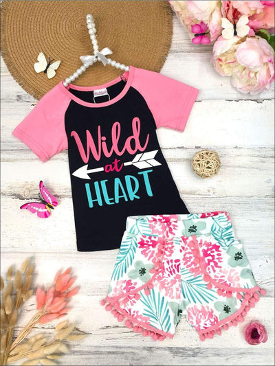 Girls Wild at Heart Top and Floral Pom Pom Shorts Set - Pink / 2T - Girls Spring Casual Set