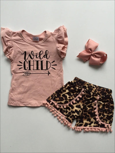 Girls Wild Child Flutter Sleeve Top & Animal Print Pom Pom Shorts Set - Red / S-3T - Girls Spring Casual Set
