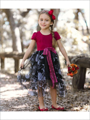 Girls Wine & Black Princess Dress with Floral Overlay - Girls Fall Dressy Dress