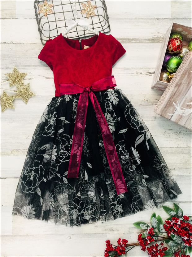 Girls Wine & Black Princess Dress with Floral Overlay - Wine/Black / 3T - Girls Fall Dressy Dress