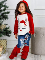 Girls Winter and Christmas Themed Fleece Plush Applique Hoodie - Girls Sweater