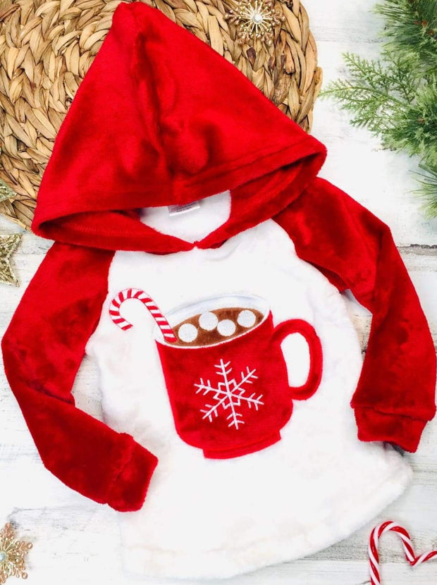 Girls Winter and Christmas Themed Fleece Plush Applique Hoodie - Red Mug / 2T - Girls Sweater