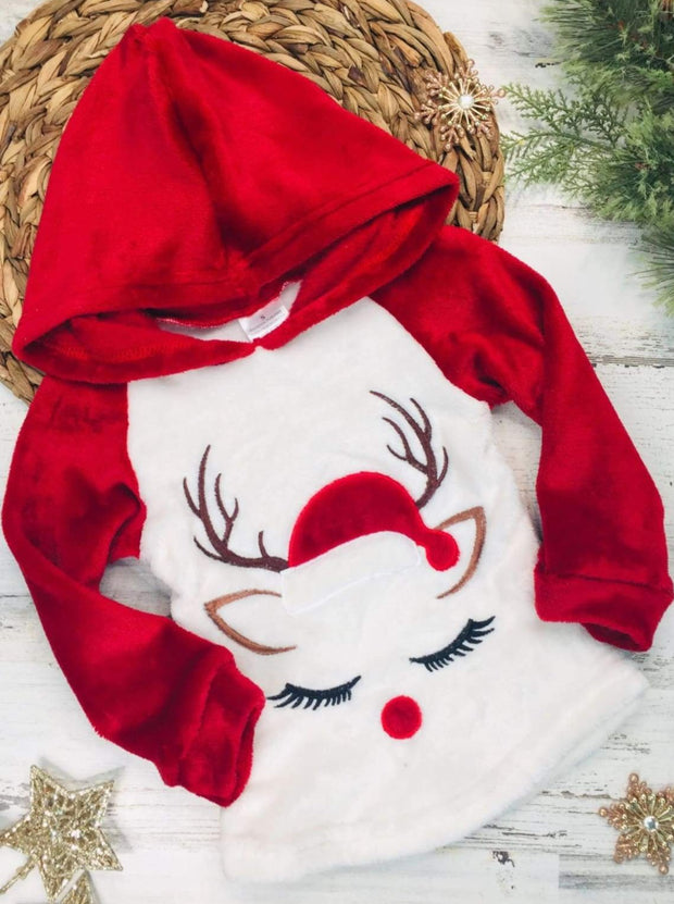 Girls Winter and Christmas Themed Fleece Plush Applique Hoodie - Red Reindeer / 2T - Girls Sweater