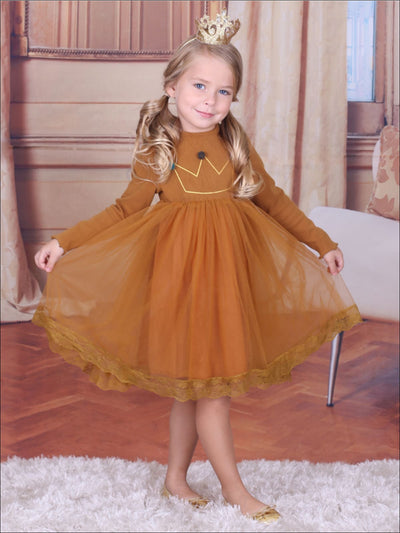 Girls Winter Gold Pom Pom Crown Applique Lace Edge Dress - Girls Fall Casual Dress