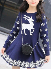 Girls Winter Knit Reindeer Christmas Dress - Girls Fall Dressy Dress