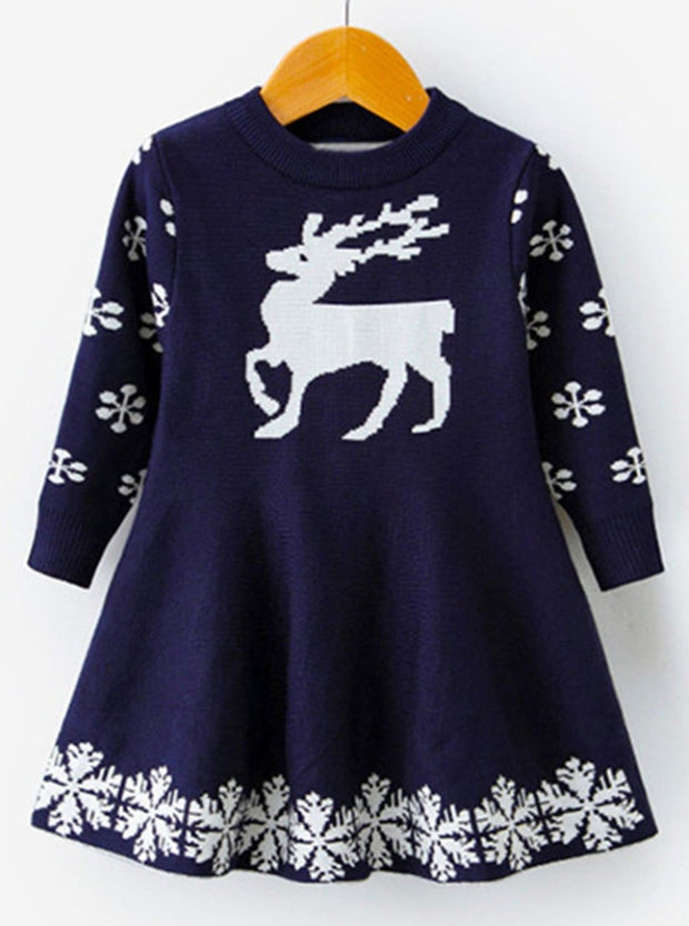 Girls Winter Knit Reindeer Christmas Dress - Navy / 3T - Girls Fall Dressy Dress