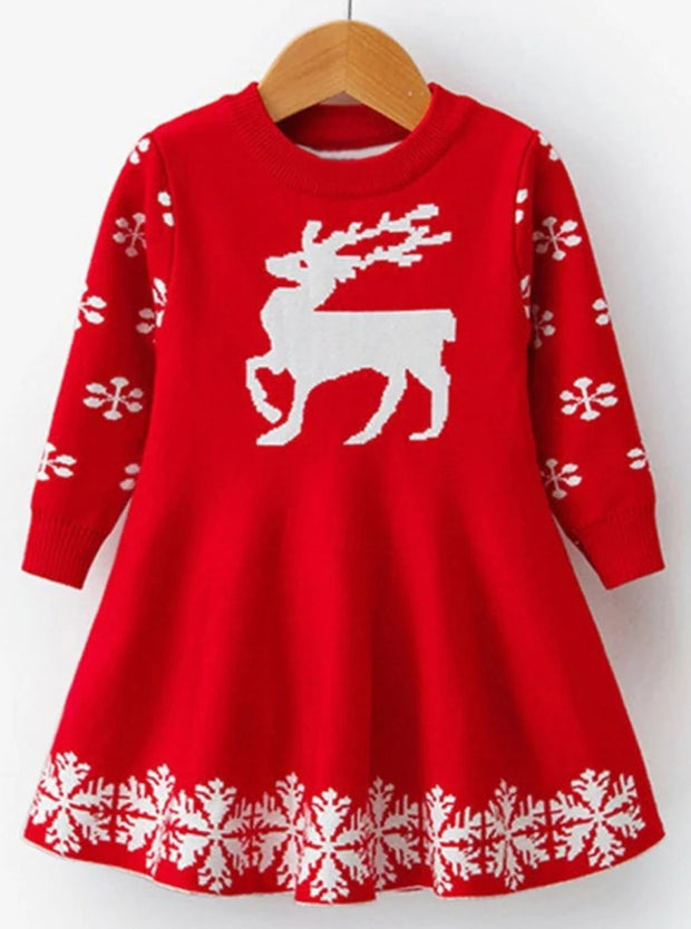 Girls Winter Knit Reindeer Christmas Dress - Red / 3T - Girls Fall Dressy Dress