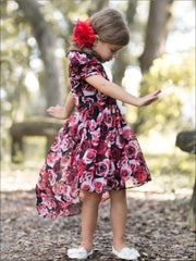 Girls Winter Red Rose Hi-Lo Dress with Gathered Cap Sleeves - Girls Fall Dressy Dress