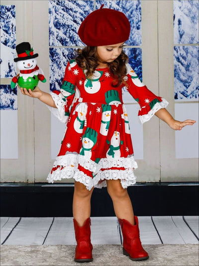 Girls Winter Themed 2-Tiered Crochet Long Flared Sleeve Snowman Print Dress - Girls Christmas Dress