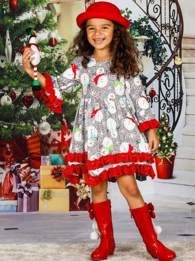 Girls Winter Themed 2-Tiered Crochet Long Flared Sleeve Swirl Snowman Print Dress - Girls Christmas Dress
