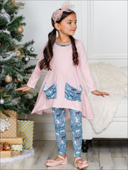 Girls Winter Themed Hi-lo Long Sleeve Tunic with Printed Slouchy Pockets & Matching Leggings Set - Girls Christmas Set