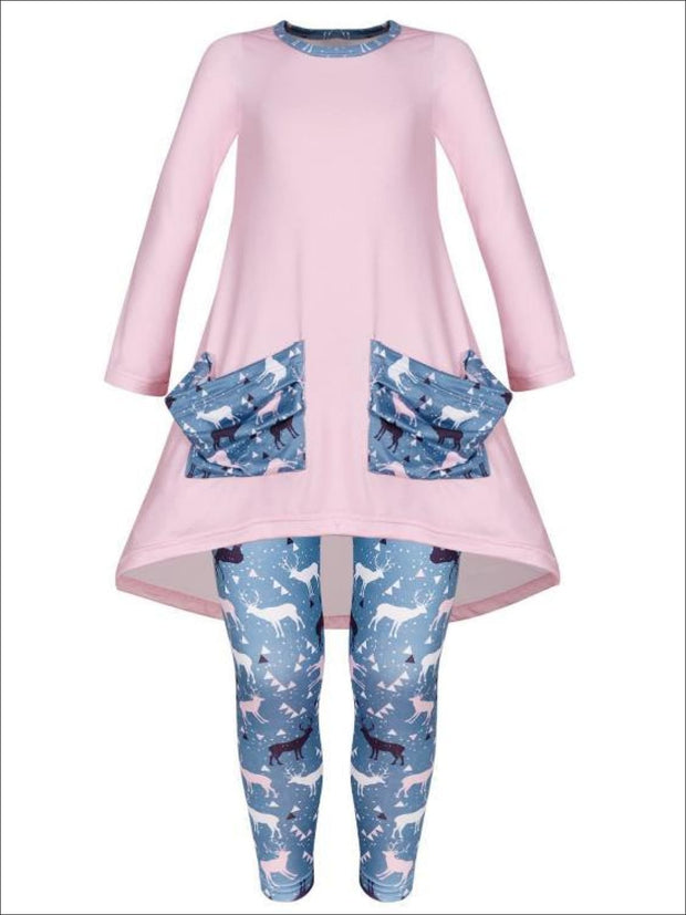 Girls Winter Themed Hi-lo Long Sleeve Tunic with Printed Slouchy Pockets & Matching Leggings Set - Pink / 2T/3T - Girls Christmas Set