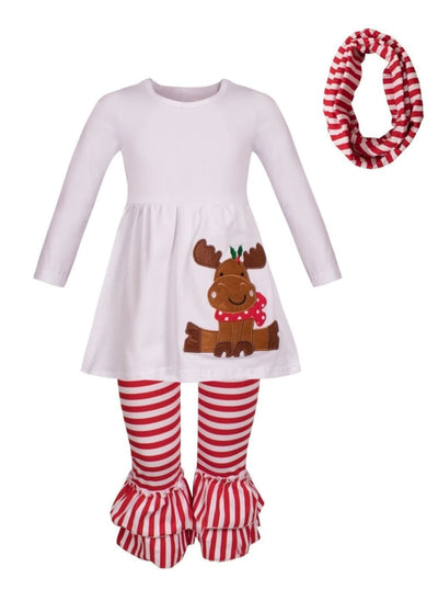 Girls Winter Themed Long Sleeve Moose Applique Tunic Striped Ruffled Leggings & Scarf Set - Red / S-3T - Girls Christmas Set