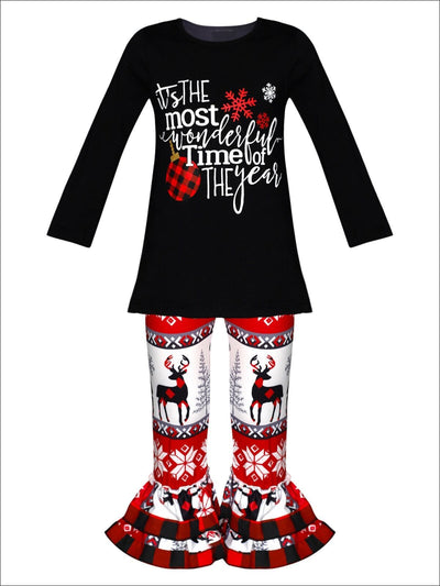 Girls Winter Themed Most Wonderful Time of the Year Long Sleeve Top & Ruffled Leggings Set - Black / S-3T - Girls Christmas Set