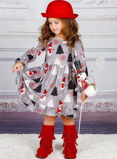 Girls Winter Themed Ruffled Long Sleeve Snowman Print Dress - Girls Christmas Dress