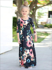 Girls & Womens Matching Long Sleeve Floral Mommy & Me Maxi Dress - Mommy & Me Dress