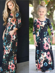 Girls & Womens Matching Long Sleeve Floral Mommy & Me Maxi Dress - Black / Mom S - Mommy & Me Dress