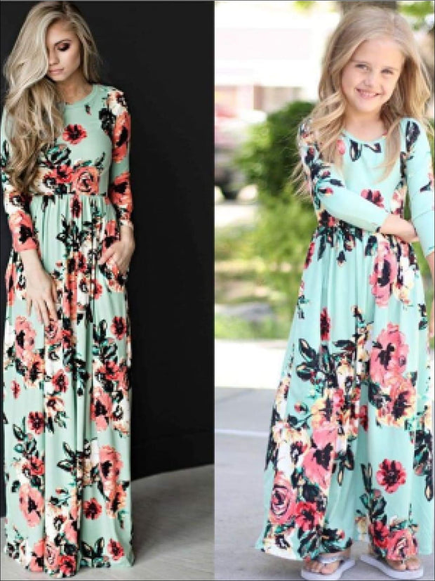 Girls & Womens Matching Long Sleeve Floral Mommy & Me Maxi Dress - Mint / Mom S - Mommy & Me Dress