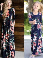 Girls & Womens Matching Long Sleeve Floral Mommy & Me Maxi Dress - Navy / Mom S - Mommy & Me Dress