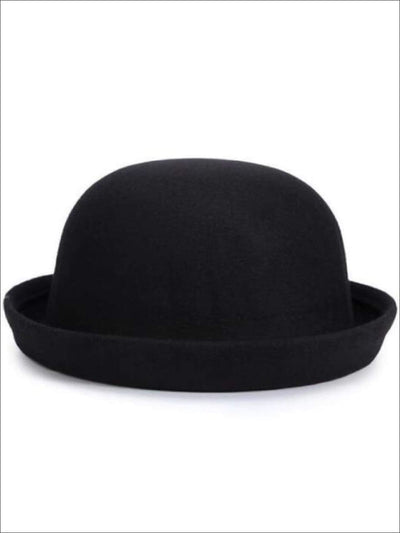 Girls Wool Bowler Hat - Black / 22.5 inch - Girls Hat