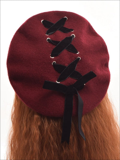 Girls Wool Velvet Lace Up Beret - Girls Berets