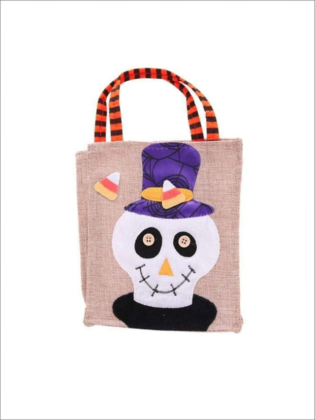 Girls Woven Halloween Character Trick-Or-Treat Bag (4 Style Options) - Skull / 26cm x 15cm - Accessories