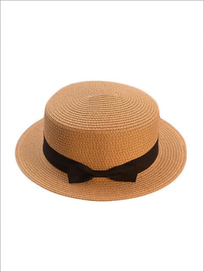 Girls Woven Straw Fedora Hat with Bow Tie (Multiple Color Options) - Girls Hats