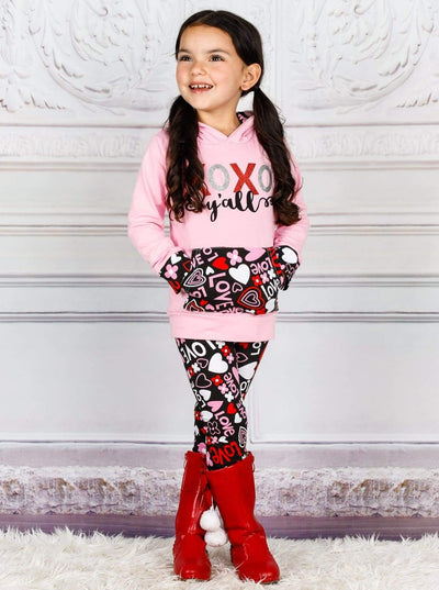 Girls XOXO Yall Love Print Long Sleeve Hoodie & Printed Leggings Set - 3T / Pink - Girls Fall Casual Set