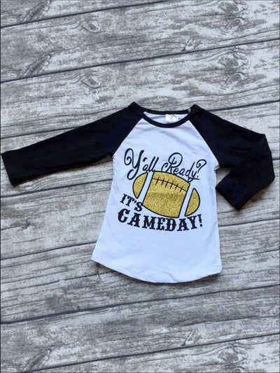 Girls Yall Ready Its Game Day Raglan Long Sleeve Top for Football Season - Black/White / XS-2T - Fall Low Stock
