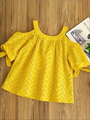 Girls Yellow Cold Shoulder Short Sleeve Tunic - Girls Spring Top