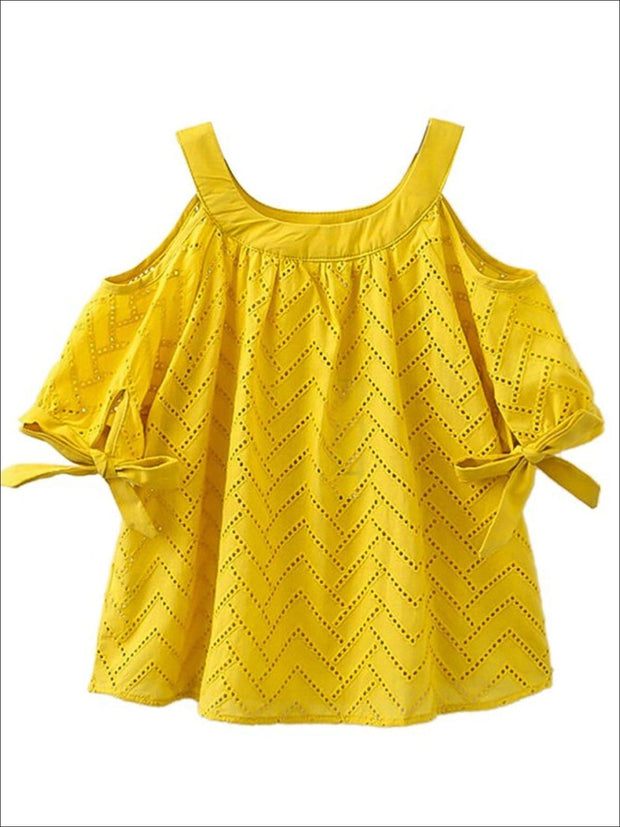 Girls Yellow Cold Shoulder Short Sleeve Tunic - yellow / 2T - Girls Spring Top