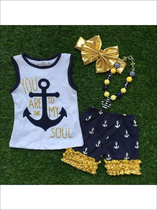 Girls You are the Anchor to my Soul Set - White/Blue / 3T - Girls Shorts Set