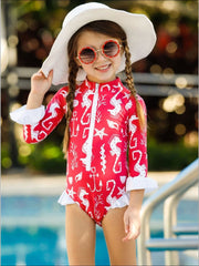 Girls Zipper Ruffled Rash Guard One Piece Swimsuit - Girls One Piece Swimsuit
