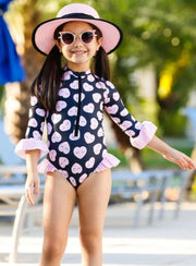 Girls Zipper Ruffled Rash Guard One Piece Swimsuit - Black / 2T/3T - Girls One Piece Swimsuit