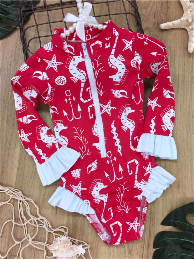 Girls Zipper Ruffled Rash Guard One Piece Swimsuit - Red / 2T/3T - Girls One Piece Swimsuit