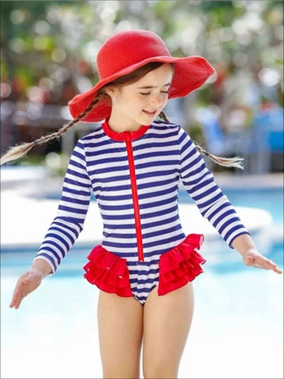 Girls Zipper Tiered Ruffles Rash Guard One Piece Swimsuit - Navy / 2T/3T - Girls One Piece Swimsuit