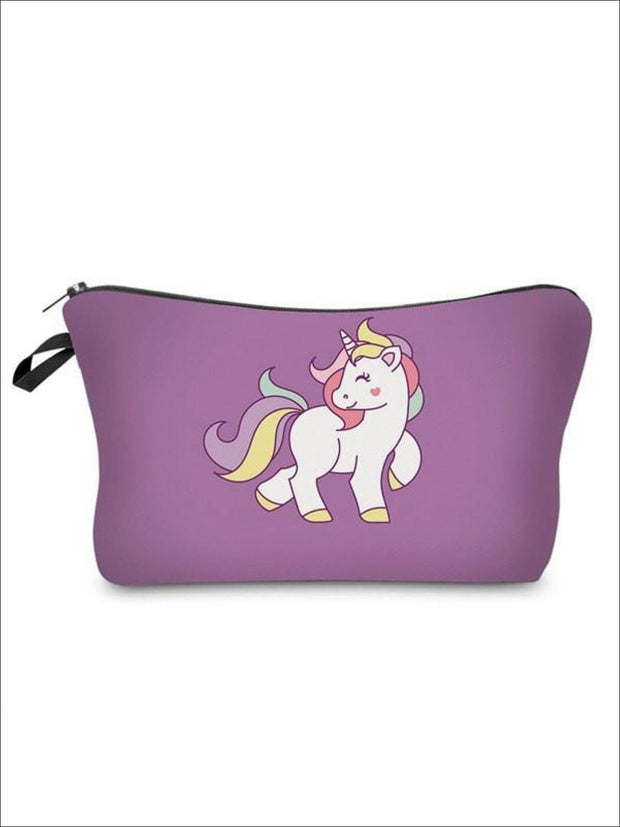 Girls Zipper Unicorn Printed Pencil Case - Purple-2 / 18-22CM*13.5CM - Unicorn Pencil Case