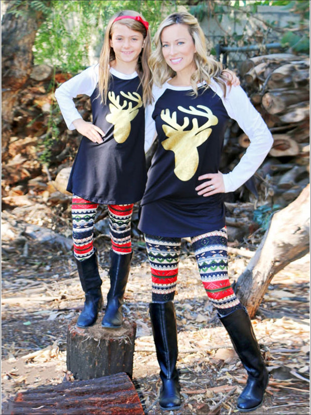 Gold Deer Print Long Sleeve Mommy & Me Matching Top - Mommy And Me Top