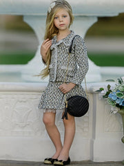 Girls Preppy Tweed Ruffled Collared Button Down Faux Pocket Jacket & Skirt Set