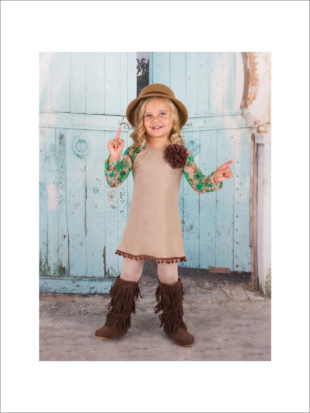 Green/Taupe Long Sleeve Raglan Lace Top & Leggings (JUL16SET7GT) - Green/Taupe / 2T - Fall Low Stock