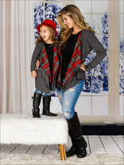 Grey Long Sleeve Mommy and Me Waterfall Sweater Cardigan - Red / Mom S - Mommy & Me Fall Tunic