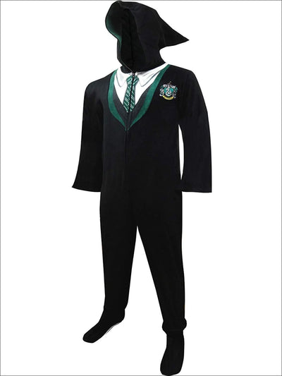 Harry Potter Slytherin Unisex House Uniform Hooded Footie Onesie Pajama - S / Black